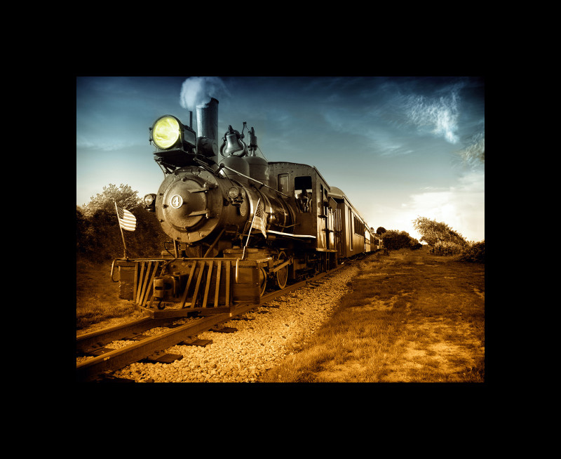 Steam train picture with a border