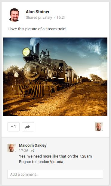 A steam train as it appears on Google+ for desktop PCs