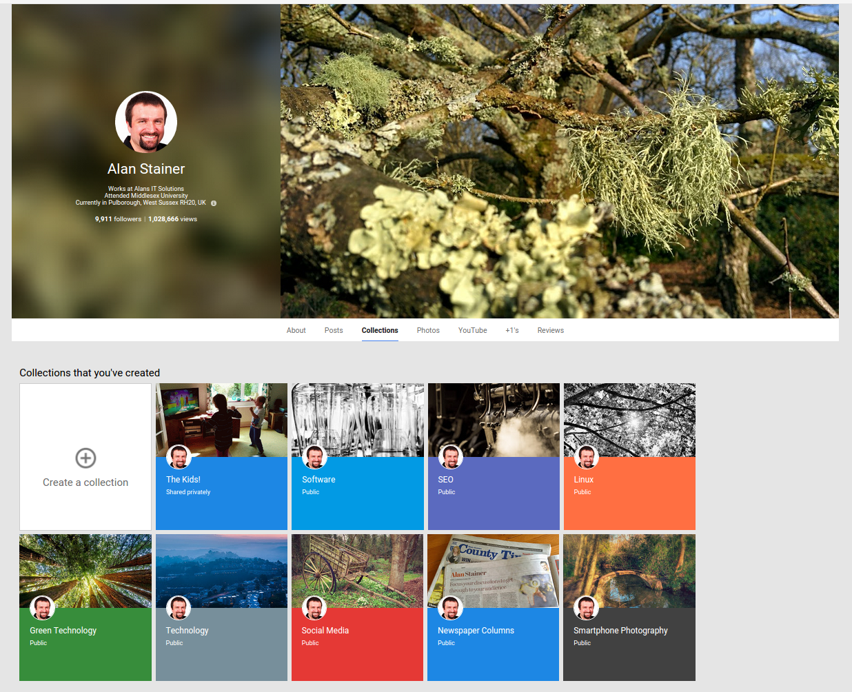 Google+ Profile Collections Tab